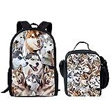 Nopersonality Bookbags para niñas con Bolsa de Almuerzo Set Primary School Mochila Little Rucksacks Animal Print, Husky 1 School Bag Set (Azul) - Nopersonality