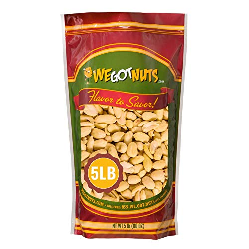 Roasted Unsalted Peanuts 5 Pounds (80oz) By We Got Nuts – Premium Quality Kosher Peanut – Healthy & Natural Rich Flavor Snack – Great For DIY Homemade Peanut Butter – Air-Tight Resealable Bag Package