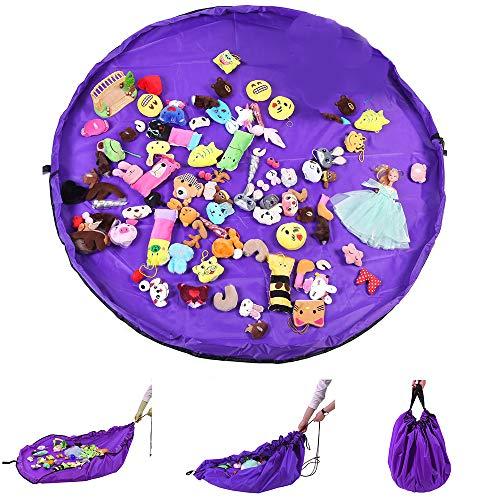 Nuluxi Spielmatte Speicher Tasche Kinder Spielmatte Aufräumsack Spielzeug Beutel Aufräumsack für Kinderzimmer Outdoor Picknick Nylon Material Bewegliches Einfaches Aufgeräumtes(150cm Runde)