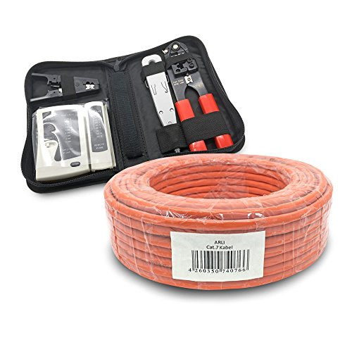 ARLI CAT 7 Verlegekabel 50m Netzwerkkabel + Werkzeug Set Crimpzange + LSA Anlegewerkzeug + Tester + Messer Halogenfrei Installationskabel Kabel Netzwerk Verkabelung Datenkabel CAT7 AWG23/1 Werkzeug