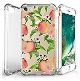 JammyLizarD Hülle für Apple iPhone 8 & iPhone 7 | Transparente Schutzhülle [SkyClear Serie] Durchsichtige Handyhülle mit Motiv Hard Hülle Backcover mit Silikon-Bumper in Crystal Clear, Pfirsiche