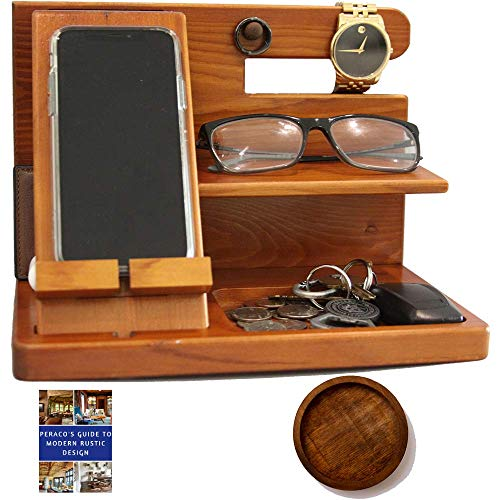 Peraco's Wooden Docking Station and Nightstand Organizer- Foldable Wood Phone Stand Holder - Holds Cellphone, Watch, Ring, and Other Accessories - Comes with Coaster and Free eBook