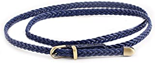 SGJFZD New Hand-Woven Belt Fashionable Female Pin Buckle Retro Casual Wild Thin Belt Waist Rope Decoration (Color : Royal Blue, Size : 103cm(Without Buckle))