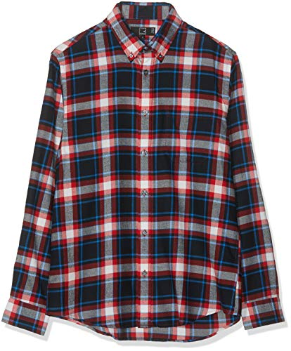 Marchio Amazon - MERAKI Camicia Uomo, Multicolore (Red/blue/black), S, Label: S