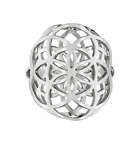 Koral Jewelry Seed of Life Ring - 925 Sterling Silver Sacred Geometry Double Flower of...
