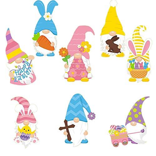 YANFANG 8PCS / 10PCS Pascua Decoracion, Gnomos de Pascua al Aire Libre Spring Bunny Party Yard Césped Decoraciones (8PCS)