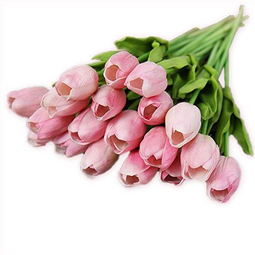 20 Stück JUYUAN-EU Tulpe künstliche Blumen mit Blätter Dekoriere Kunstblumen Latex Real Touch Bridal Wedding Bouquet Home Decor Hell Rosa