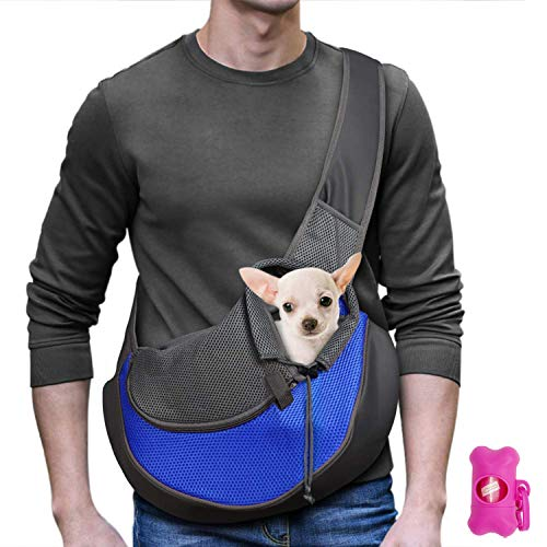 MLM Pet Carrier Doggie Cat Hand Free Sling Carry Bag with Breathable Mesh Pouch Outdoor Travel Puppy Carrying for Walking Subway (Blue)