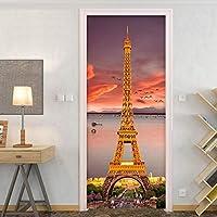 ZWYCEX ドアステッカー 美しい景観3Dアイアンタワーの壁紙のドアステッカーモダンリビングルームのベッドルームレストラン壁の装飾クリエイティブ自己粘着性 (Sticker Size : 77x200cm)