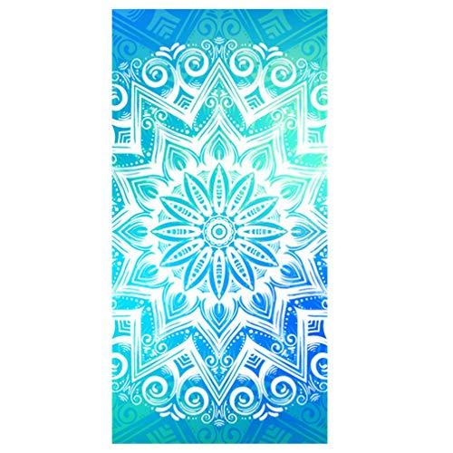 Sticker Superb Bohemia Mandala Indian Rechteckig Badetuch Heimtextilien Erwachsene 160cm x 80cm Handtuch Bademantel Camping Sport Strandtuch Yogamatte Kinder Decke (Blau,Beidseitiger Druck)
