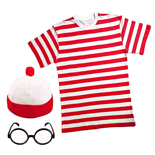 MENS LADIES RED & WHITE STRIPED Fancy Dress (Men: Medium) …