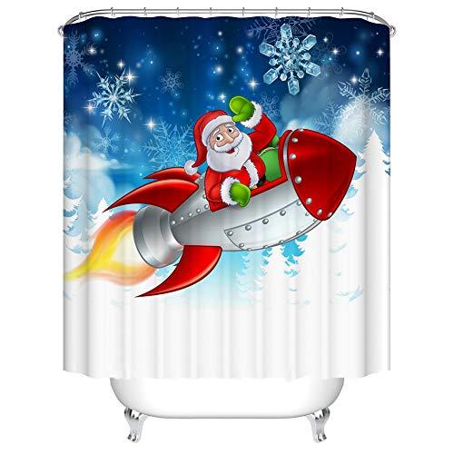 Fangkun Weihnachts-Duschvorhang – Polyester Weihnachtsmann reitend Raketenmuster Badvorhänge Dekor-Set – 12 Duschvorhänge – 183 x 183 cm
