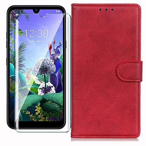 HYMY Hülle für LG Q60 + Schutzfolie - Rot Einfach Stil PU Leder Lederhülle Flip mit Brieftasche Geldbörse Card Slot Handyhülle Cover für LG Q60 (6.26