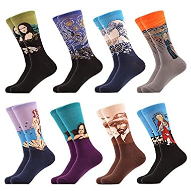 WeciBor Men's Dress Cool Colorful Novelty Funny Casual Oil Painting Combed Cotton Crew Socks 8 Packs