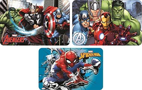 Lot de 3 sets de table Marvel Avengers + Spiderman pour garçon