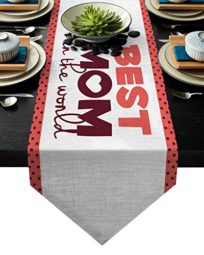 Libaoge Monogram Table Runner, Best Mom in The World Printed Patterned Table Cover for Parties, Christmas & Holidays, Machine Washable Polyester, Extra Long 13 x 90(33 x 229cm)