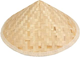 LIOOBO Traditional Vietnamese Conical Hat Asian Japanese Rice Hat Chinese Sun Hat Bamboo Farmer Hat 23.5x14.5cm
