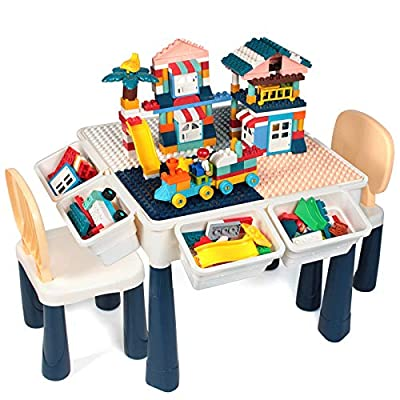 GobiDex 7 in 1 Multi Kids Activity Table Set with 2 Chairs and 158 Pcs Large Size Blocks Compatible with Classic Blocks.Water Table,Sand Table and Building Blocks Table for Toddlers Activity by GobiDex