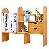 Hossejoy - Estantería de escritorio ajustable de bambú con cajones,...