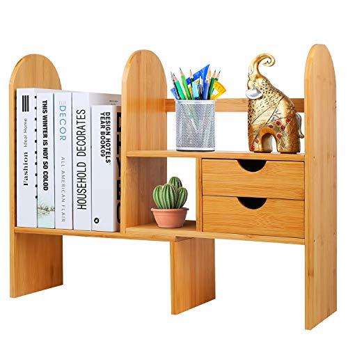 Hossejoy Bambus verstellbares Bücherregal Thekenbücherregal Schreibtisch-Organizer mit Schubladen, Mehrzweck-Regal für Bürozubehör, Küche und Badezimmer