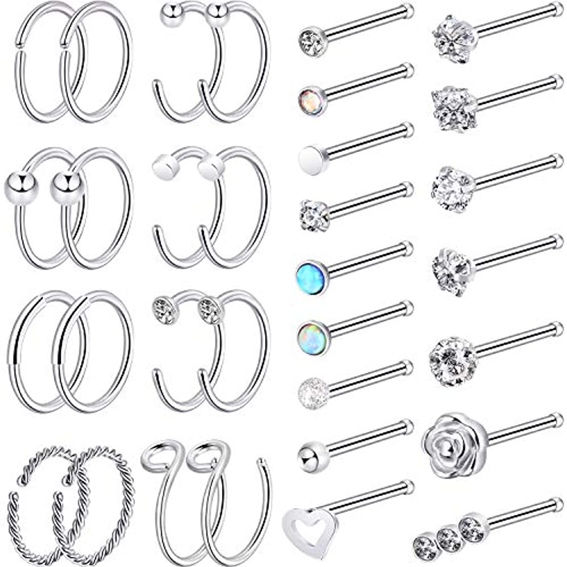 Chinco 32 Pieces C-Shaped Nose Ring L-Shaped Hoop Tragus Nose Studs Bone Curved Hoop Tragus Cartilage Hoop Piercing
