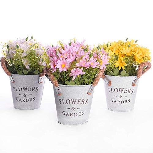 Plantas de margaritas artificiales, juego de 3 | Decoración interior y exterior | Plantas artificiales perfectas para escritorio de oficina | Flores de jardín | Baño y Cocina | M&W