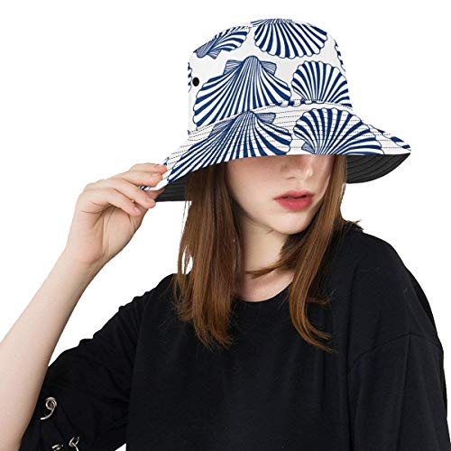 Zemivs Sea Shell Ocean Beach Sommer Unisex Angeln Sun Top Bucket Hats für Kid Teens Frauen und Männer mit Packable Fisherman Cap für Outdoor Baseball Sport Picknick