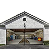 Magnetic Garage Screen Door for Double Garage Doors 16x7FT- Reinforced Fiberglass Door Screen,Stronger 2100g(4.6LB) High Energy Magnets ,Hands Free Magnetic Screen Door