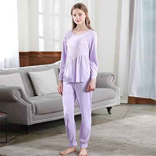 Womens Nightwear Comfortable Women's Pajamas Pants Set 2 Pcs Soft Solid Color Lace Ruffle Nightwear Nightie For Ladies (Color : Purple)