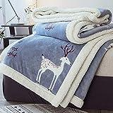 Inicio Diseños de Moda Premium Reversible de Dos en uno Sherpa y Fleece Velvet Manta de...
