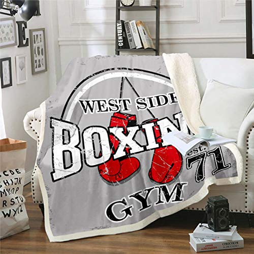 Manta de forro polar de boxeo para niños y adolescentes West Side Boxing Match Manta de felpa para el sofá cama doble de 150 x 180 cm