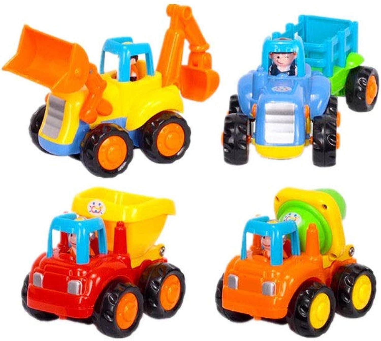 Lernspielzeug für Kinder Früherziehung über 18 Monate Babyspielzeug drücken Reibungskraftautospielzeug 4-teilig Traktor Bulldozer Mixer Auto und Kinder überschlag Denksportaufgaben Spielzeug Lehrreich