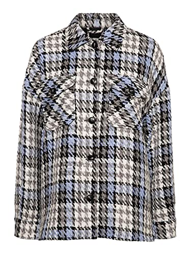 Vero Moda Camisa Over con trama multicolor y botones grandes., azul celeste, M