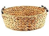 Decorasian Korb Aufbewahrung rund geflochten aus Seegras mit Holzgriffen - Wasserhyazinthe 42cm