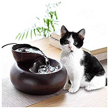 Pet water dispenser Fontaine à Eau en Céramique pour Chats et Chiens - Facile à Nettoyer,Électrique et Silencieuse (Brown)