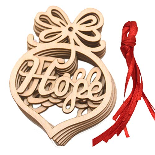 HEALLILY 6Pcs Christmas Wooden Ornaments Unfinished Hollow Heart Wood Slices Rustic Wood Cutout Embellishments Xmas Tree Hanging Pendant Gift Tag with Cord for DIY Crafts