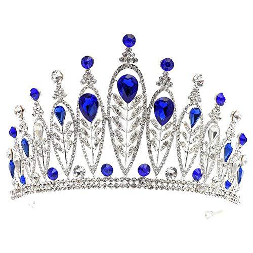 MoGist Hochzeit Krone Blattform Teardrop Strass Krone Braut Tiara Strass Haarreifen Prinzessin Diadem für Festzüge Hochzeit (Silber+Blau)