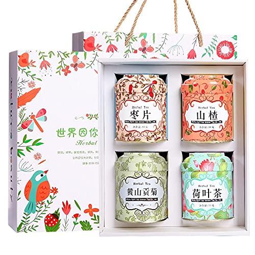 【4罐花草茶礼盒装】 黄山贡菊+荷叶茶+枣片+å±±æ¥ Max 72% OFF High quality
