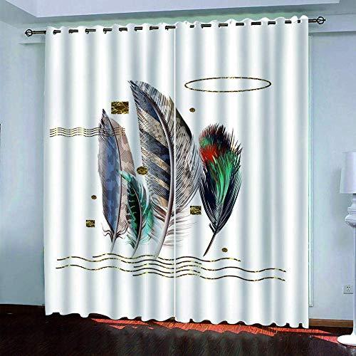 fgjorics Cortinas Opacas 3D, Cortinas De Fibra De Poliéster Impermeables Y A Prueba De Moho, Plumas De Colores para Sala De Estar, Oficina Y Dormitorio (2 Paneles) 250 (H) X150 (W) Cmx2