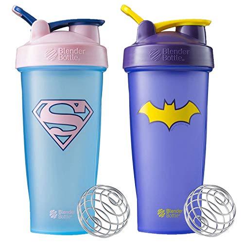 BlenderBottle Classic Justice League Supergirl and Batgirl 28-Ounce Shaker Bottle, 2-Pack