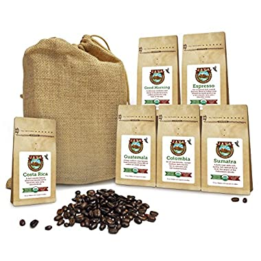 Java Planet - Coffee Beans, Organic Coffee Sampler Pack in Burlap Bag, Whole Bean Variety Pack, Arabica Gourmet Specialty Coffee, 1.32 lbs of coffee packaged in six 3.2 oz bags