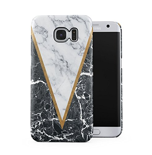 DODOX Black Onyx & Light Gray Marble Blocks Case Compatible with Samsung Galaxy S7 Edge Snap-On Hard Plastic Protective Shell Cover Carcasa