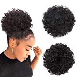Afro Puff Drawstring Ponytail Kinky Curly Bun Hair Synthetic Short Extensions Hairpieces Updo Hair for Black Women Girls(1B)