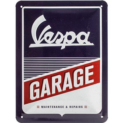 Nostalgic-Art Plaque vintage Vespa – Garage – Idée de cadeau pour les fans de scooters, en métal, Design retro pour la décoration, 15 x 20 cm