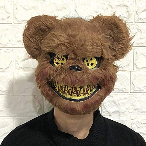XWYWP Mscara de Halloween Halloween Temoroso Ltex Animal Cabeza de Lobo con Mscara de Pelo Disfraz de Fiesta Mscara de Terror Adulto/Nios BrownBear
