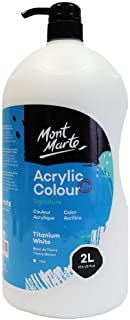 Mont Marte Discovery School Acrylic, Titanium White, 1/2 Gallon (2 Liter). Ideal for Students and Artists. Excellent Cover...
