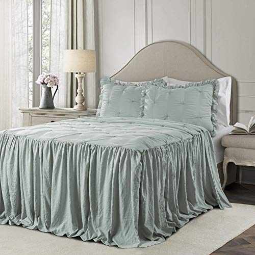 Lush Decor Blue Ravello Pintuck Ruffle Skirt Bedspread Shabby Chic Farmhouse Style Lightweight 3 Piece Set Full