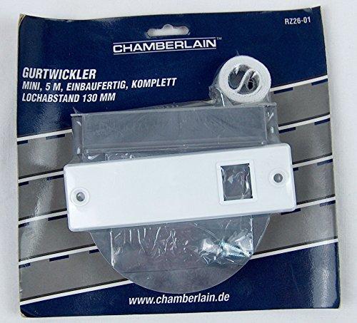 Chamberlain MotorLift Gurtwickler RZ26-01 Mini - inkl. Abdeckplatte - Einbaufertig - Komplett - Lochabstand 130mm - 5m Gurt