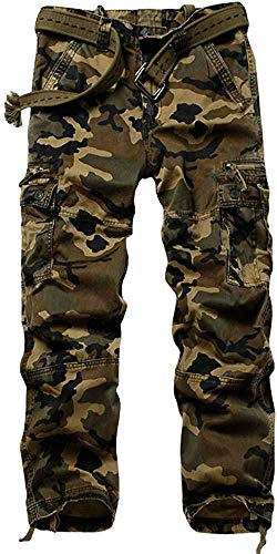 AKARMY Men's Cotton Casual Work Cargo Pants, Military Tactical Combat Trousers with 8 Pockets M Camo Straight Section 29