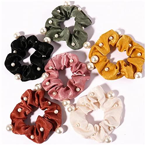 Moda Color sólido Satén Perlas Scrunchie Mujeres Elegantes bandas elásticas para el cabello Accesorios para el cabello Lazos para el cabello Niñas Cola de caballo Headwear 6Pcs